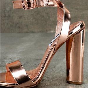 1e03cc82e5b Steve Madden Shoes - Steve Madden Treasure Rose Gold Ankle Strap Heels